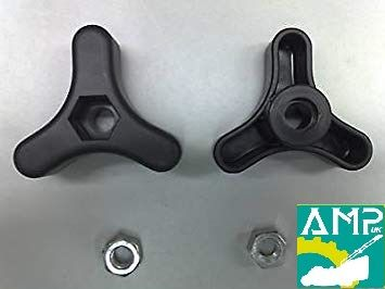 Atco Plastic 3 Spoke Handle Knob c/w M8 Nut x 2 pcs Part Number 122399900/0