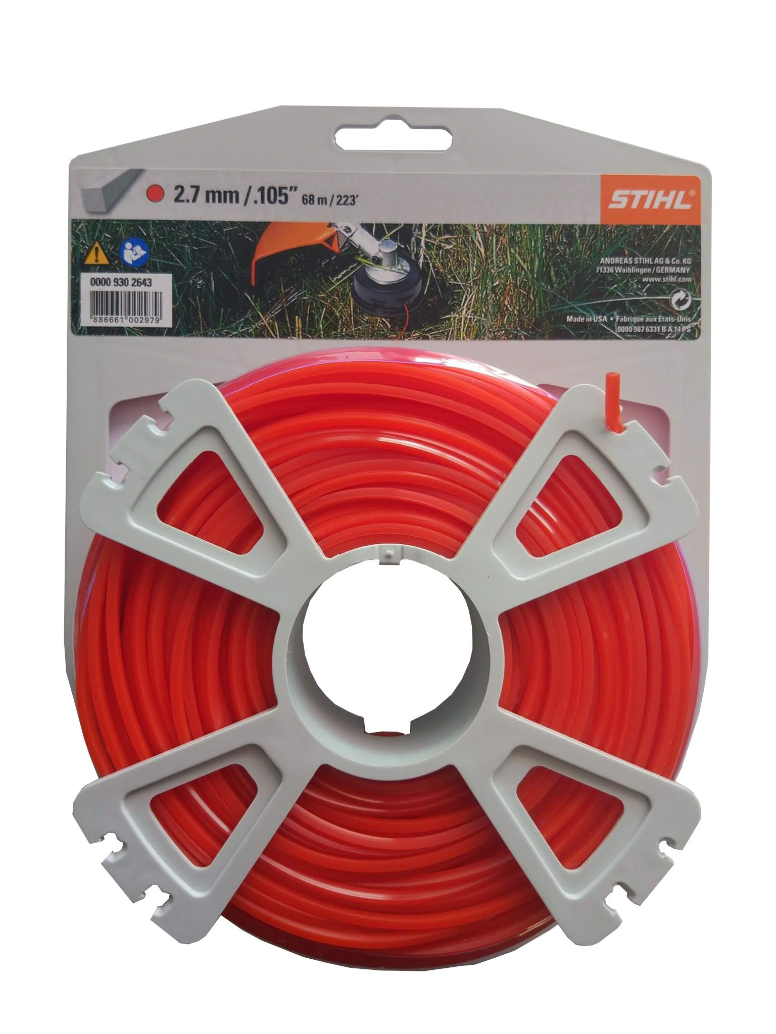 Genuine Stihl Trimmer line SQUARE (RED) 2.7mm x 68M Product Code 0000 930 2643